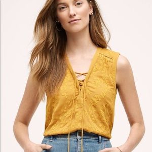 Maeve Mustard Yellow Embroidered Sleeveless Blouse